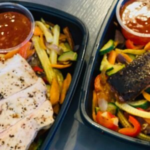 Prep - Low Carb Salmon fillet and vegetable stir fry, with sweet chili sauce
