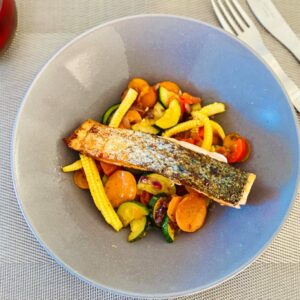 Prep Low carb Salmon fillet and vegetable stir fry